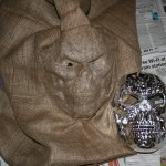 Raw Hessian sculpted over a found mask set with PVA glue and a hairdryer