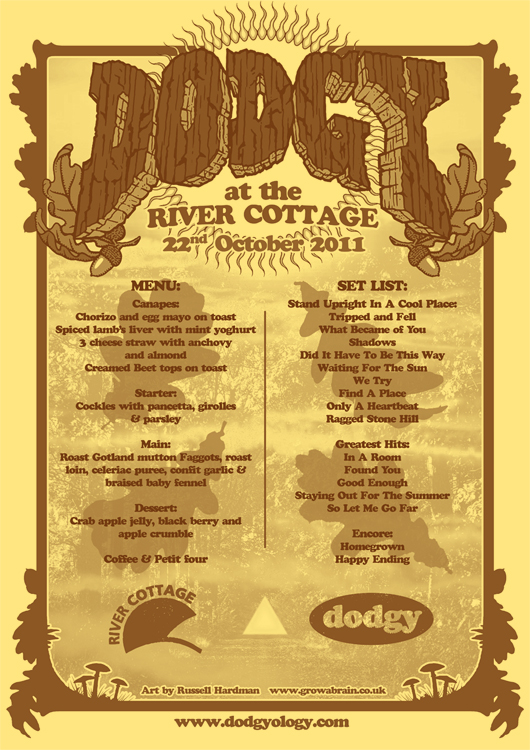 River Cottage/Dodgy menu